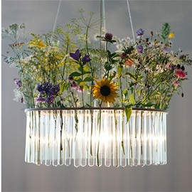 Test Tube Chandelier with Flowers