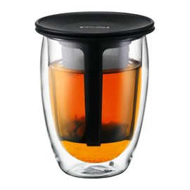 bodum - TEA FOR ONE - Glass, double wall, 0.35 l, 12 oz and tea strainer