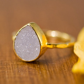Delezhen - リング White Agate Druzy 18k gold filled