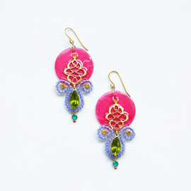 Ostara - Oriental Filigree Earrings/Fuchsia Shell