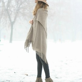 Fringed Wool Cape