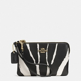 COACH - SMALL L-ZIP WRISTLET IN ZEBRA EMBOSSED LEATHER