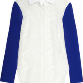 Carven - Contrast-sleeve lace shirt