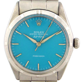 ROLEX - 1965 Vintage Air-King Ref. 1002 Stainless Steel watch with Custom Turquoise Blue Dial