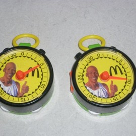 McDonald's - VINTAGE 1991 MICHAEL JORDAN MCDONALDS WIND UP STOP WATCH TOY (2) HAPPY MEAL NBA  Watch