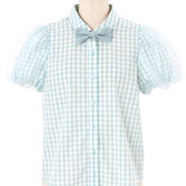 Candy Stripper - SOFTLY SLEEVE GINGHAM BLOUSE MINT