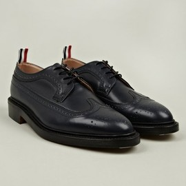 THOM BROWNE - Navy Long Wing Leather Brogue Shoe