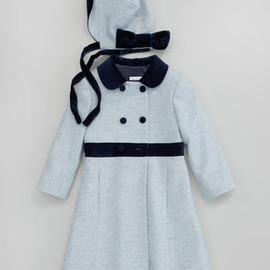 Oscar de la Renta - Girls' Herringbone Coat with Matching Hat