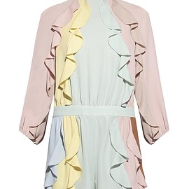 VALENTINO - SS2015 Ruffled colour-block playsuit