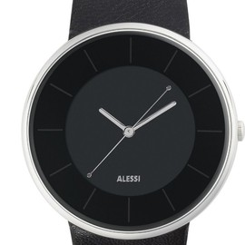 Alessi - Luna - Black Leather Strap - Black Dial - AL8004