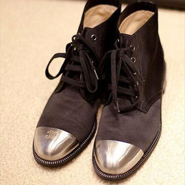 CHANEL - silver toe strap shoes