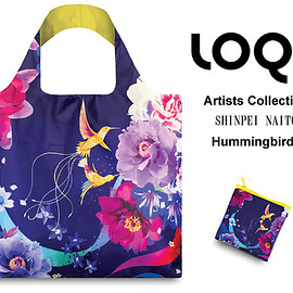 内藤新平デザイン LOQIローキー エコバッグ Artists Collection SHINPEI NAITO Hummingbirds