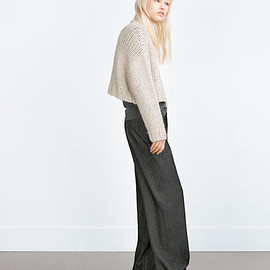 ZARA - WIDE-LEG HERRINGBONE TROUSERS