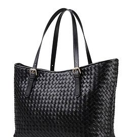 Cwmalls - Cwmalls Womens Woven Leather Tote CW255166