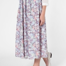 American Apparel - Floral Double-Layered Full Length Skirt