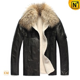 CWMALLS - Fur Lined Leather Jacket Mens CW819183 - CWMALLS.COM