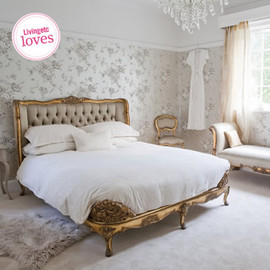 Versailles Upholstered Gold Bed