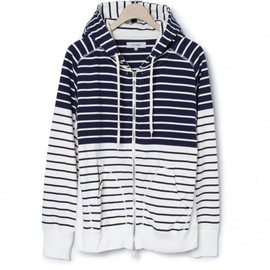 nonnative - MARINER HOODED FULL ZIP - COTTON JERSEY PANEL BORDER