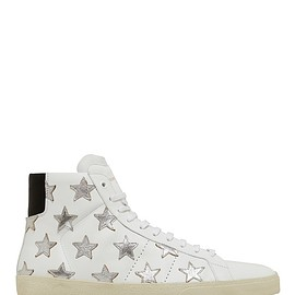 SAINT LAURENT - WHITE-AND-SILVER-STARS-CALF-LEATHER-SL06M-MID-TOP-SNEAKER