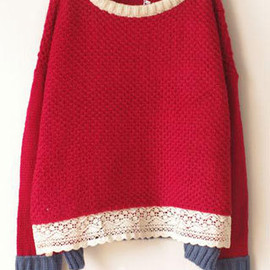 Red Mixed Colors Lace Crewneck Warm Sweet Christmas Sweater Pullover
