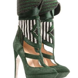 Rodarte - Hand-beaded calf hair platform boots