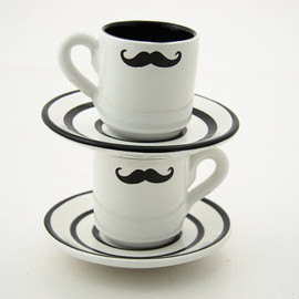 LennyMud - Set of Two Mustache Moustache Espresso Cup and Saucers