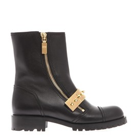 Alexander McQueen - Metal-bar leather biker boots