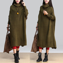 ETSY - High-necked pullover / loose stitching bottoming shirt female long sweater