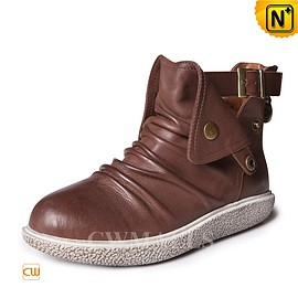 cwmalls - Womens Brown Leather Boots CW305321 - cwmalls.com