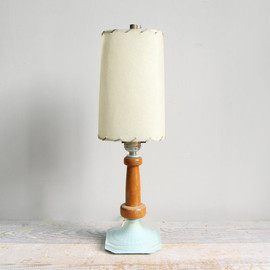 Vintage Mid Century Glass and Wood Lamp with Original Fiberglass Shade