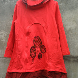 dress - hooded babydoll cotton Long dress in red