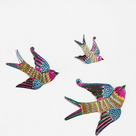 Tin Birds Sculpture Wall Art - Tin Birds Sculpture Wall Art - Set of 3