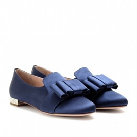 miu miu - SATIN LOAFERS WITH PLEATED BOW