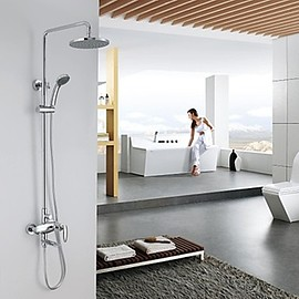 Faucetsmall - Contemporary Chrome Finish Tub Shower Faucet with 8 inch Shower Head and Hand Showee