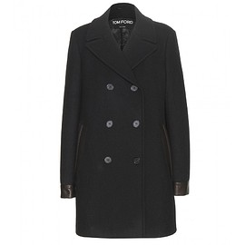 TOM FORD - Leather-trimmed wool pea coat