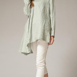 MaLieb - linen Tilt pleated collar asymmetric shirt