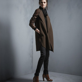 Vince - Shirttail Coat with Leather Sleeves