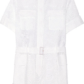 VALENTINO - SS2015 Broderie anglaise cotton-blend playsuit