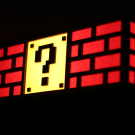TheBackPackShoppe - Colorful Mario Question Mark Block Lamp - Nintendo roots