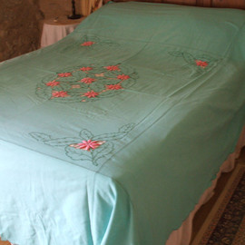 ANTIQUE FRENCH LINEN bed cover hand embroidered linen.art deco