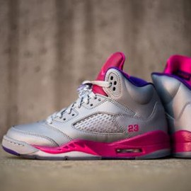 Nike - NIKE AIR JORDAN V RETRO GS CEMENT GREY/PINK FLASH-RASPBERRY RED-ELECTRIC PURPLE