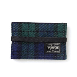 "HEAD PORTER - ""LESSON"" BAND CARD CASE GREEN"