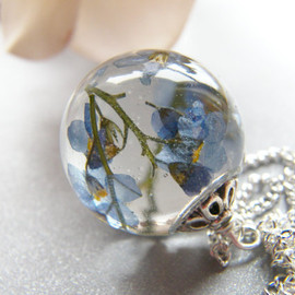 Wishes on the Wind - Real Forget me Not Resin Orb Necklace
