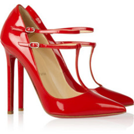 Christian Louboutin - V Neck patent-leather pumps