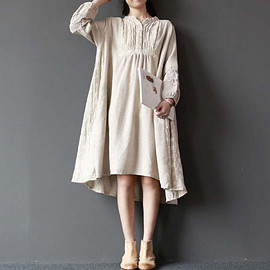 loose fitting dress - large size Cotton and linen loose fitting Linen color asymmetrical dress