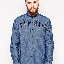 asos - Chambray Shirt in Long Sleeve With Embroidered Font