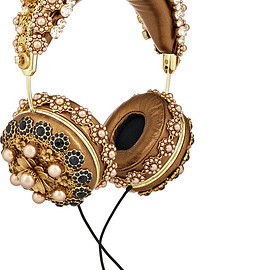 DOLCE&GABBANA - FW2015 Frends embellished metallic leather headphones