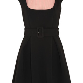 miu miu - Silk chiffon-paneled crepe mini dress