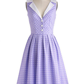 Love You Brunches Dress - Purple, White, Polka Dots, Buttons, Pleats, Casual, A-line, Sleeveless, Daytime Party, Vintage Inspired, 50s, Spring, Long, Cotton