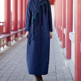 long robe - Dark blue/ red long dress Autumn and winter bottoming dress long robe